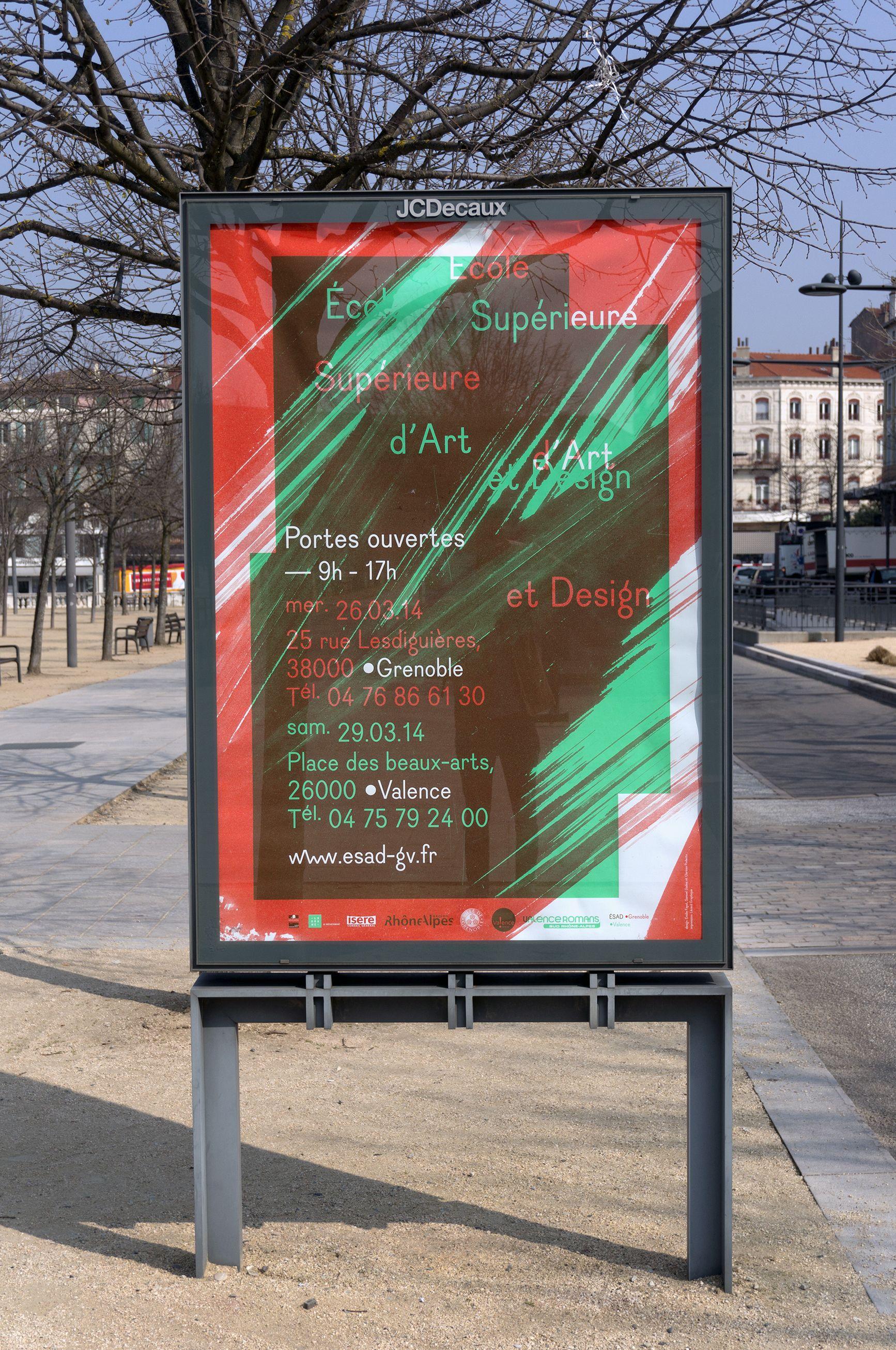 Affiche Journee Portes Ouvertes Ecole Superieure D Art Et Design Esad Grenoble Valence Samuel Gadea Clarisse Podesta Et Emilie Art Et Design Art Valence