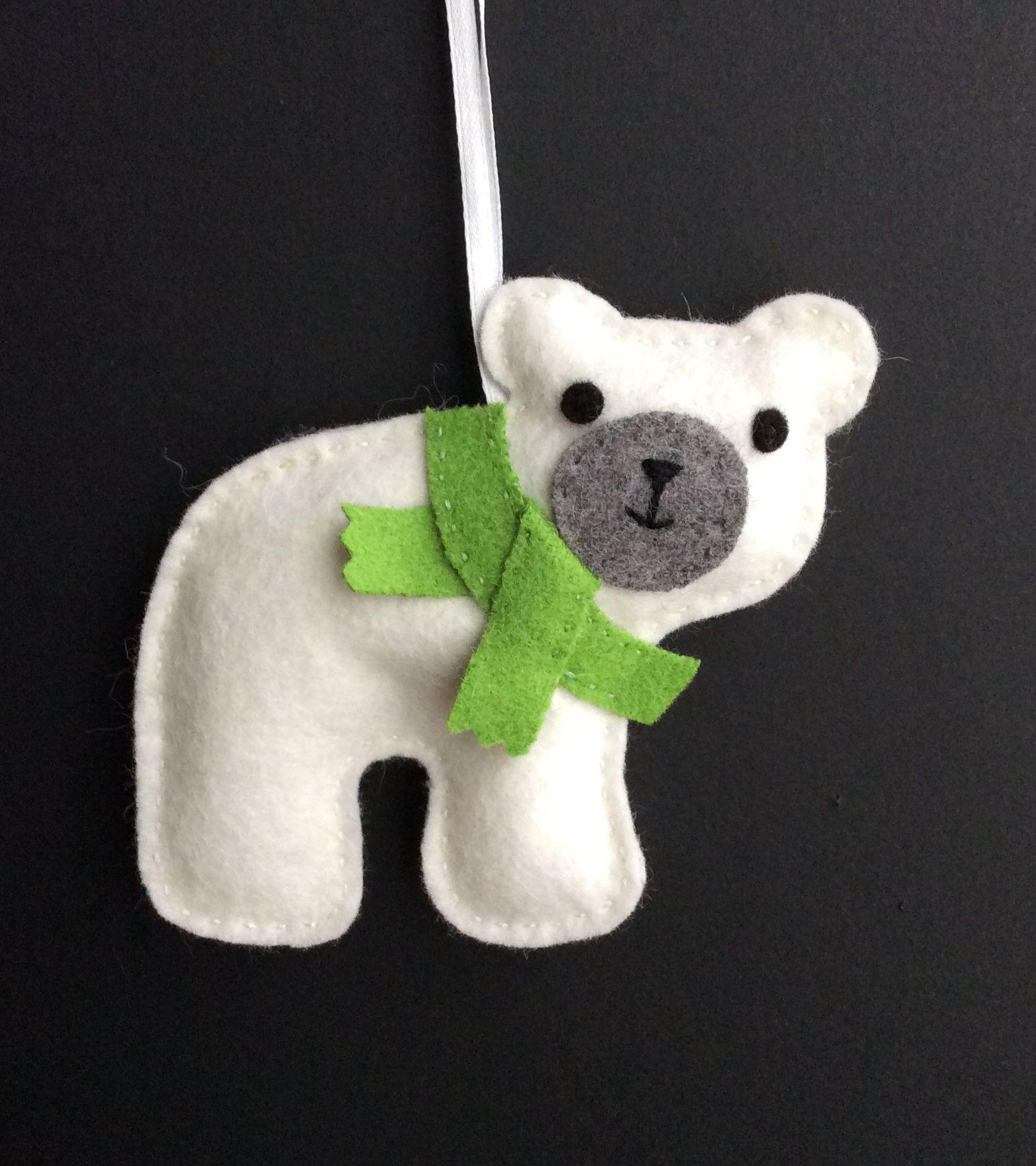 Felt Polar Bear Felt Christmas Ornaments Felt Ornaments Felt Ornaments Patterns