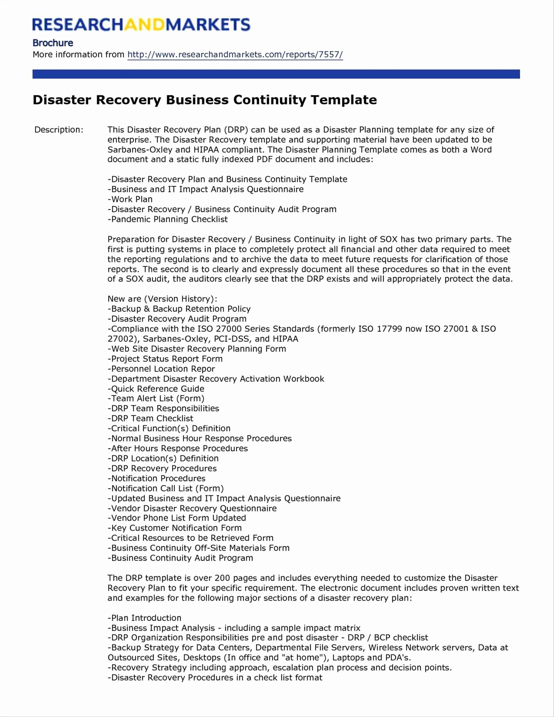 Simple Disaster Recovery Plan Template Best Of Disaster Recovery Plan Template Pdf Free Business Continuity Planning Business Continuity Business Plan Template