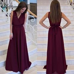 2017 Summer Women Casual Style V-Neck Fit And Flare Sleeveless Dress Solid Floor-Length Summer Long Dresses