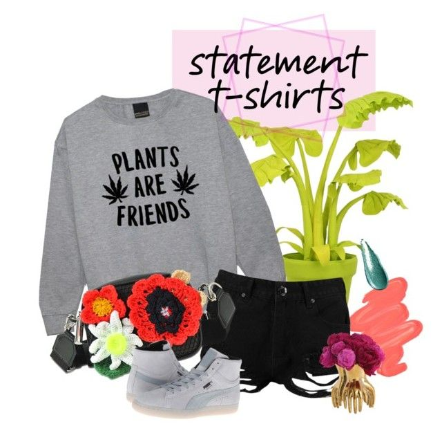 """""""plants are friends 💚"""" by thebaretree on Polyvore featuring Wandschappen, Obsessive Compulsive Cosmetics, Giorgio Armani, Boohoo, Arteriors, Christopher Kane and Puma"""