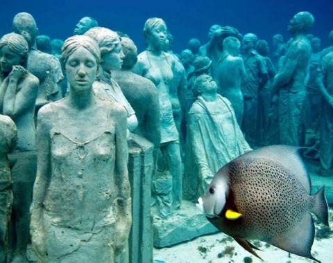 Underwater Art Museum in the Isla Mujeres National Marine Park near Cancun.