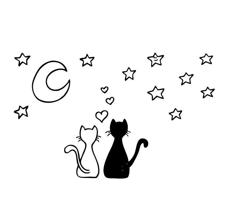 VINILO gatos mirando las estrellas www.tomavinilo.com