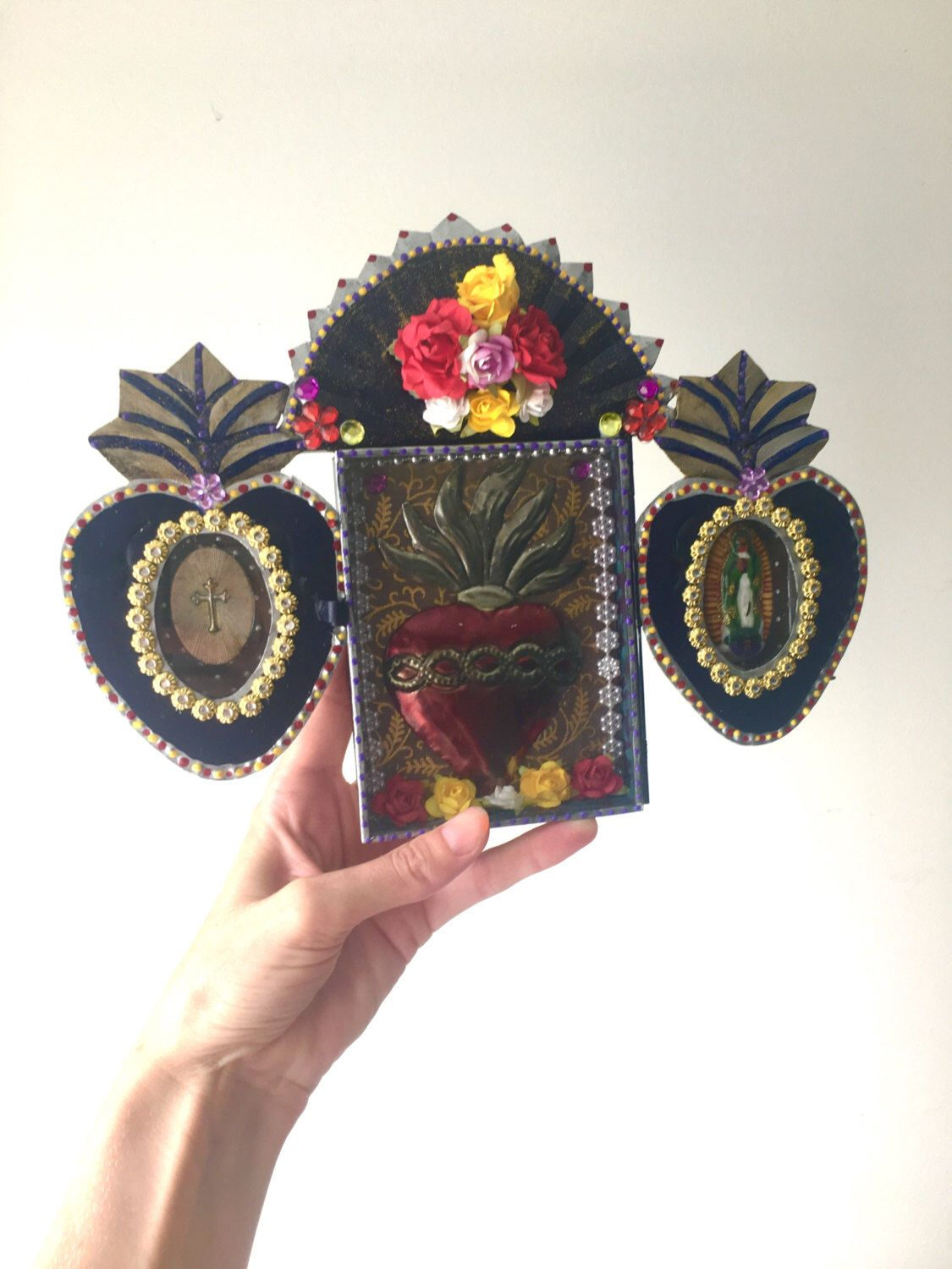 Mexican tin metal nicho shrine shadowbox with tin sacred heart/ Mexican folk art / rustic vintage  / wedding gift / guadalupe metallic by TheVirginRose on Etsy https://www.etsy.com/listing/491463980/mexican-tin-metal-nicho-shrine-shadowbox