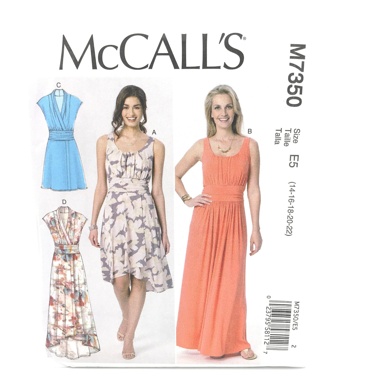 Mccalls 7350 Plus Size Dress Sleeveless Mini Midid Maxi High Low 14 22 Uncut Sewing Pattern Midi Maxi Dress Dress Sewing Patterns Wrap Dress Sewing Patterns [ 3000 x 3000 Pixel ]
