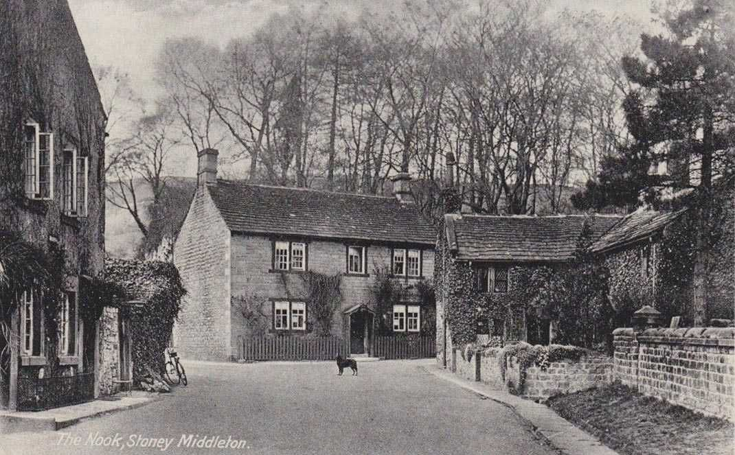Derbyshire Stoney Middleton The Nook With A Dog In The Road Derbyshire Old Photos Old Pictures