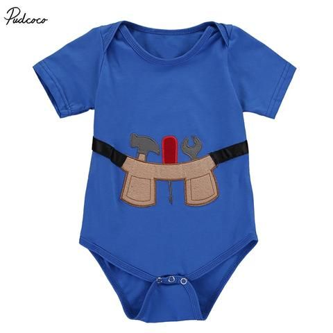 72b66d1db Newborn Infant Baby Kids Boy Cotton Cartoon Tool Bodysuit Jumpsuit ...