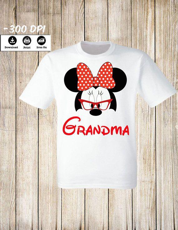 Mickey Minnie Mouse Grandma Iron On Transfer T Shirt Family Ma
