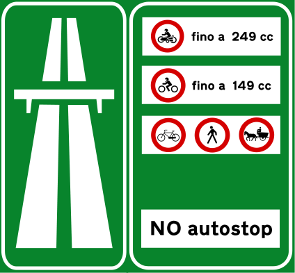 Italian traffic signs - Inizio autostrada - Rete autostradale italiana - Wikipedia  if you 've rented a scooter or a Vespa 125 cc and you find this signal you can not enter cause it is forbidden to go to Scooters till 149cc  and to motorcycle till 249cc. So you can not enter !