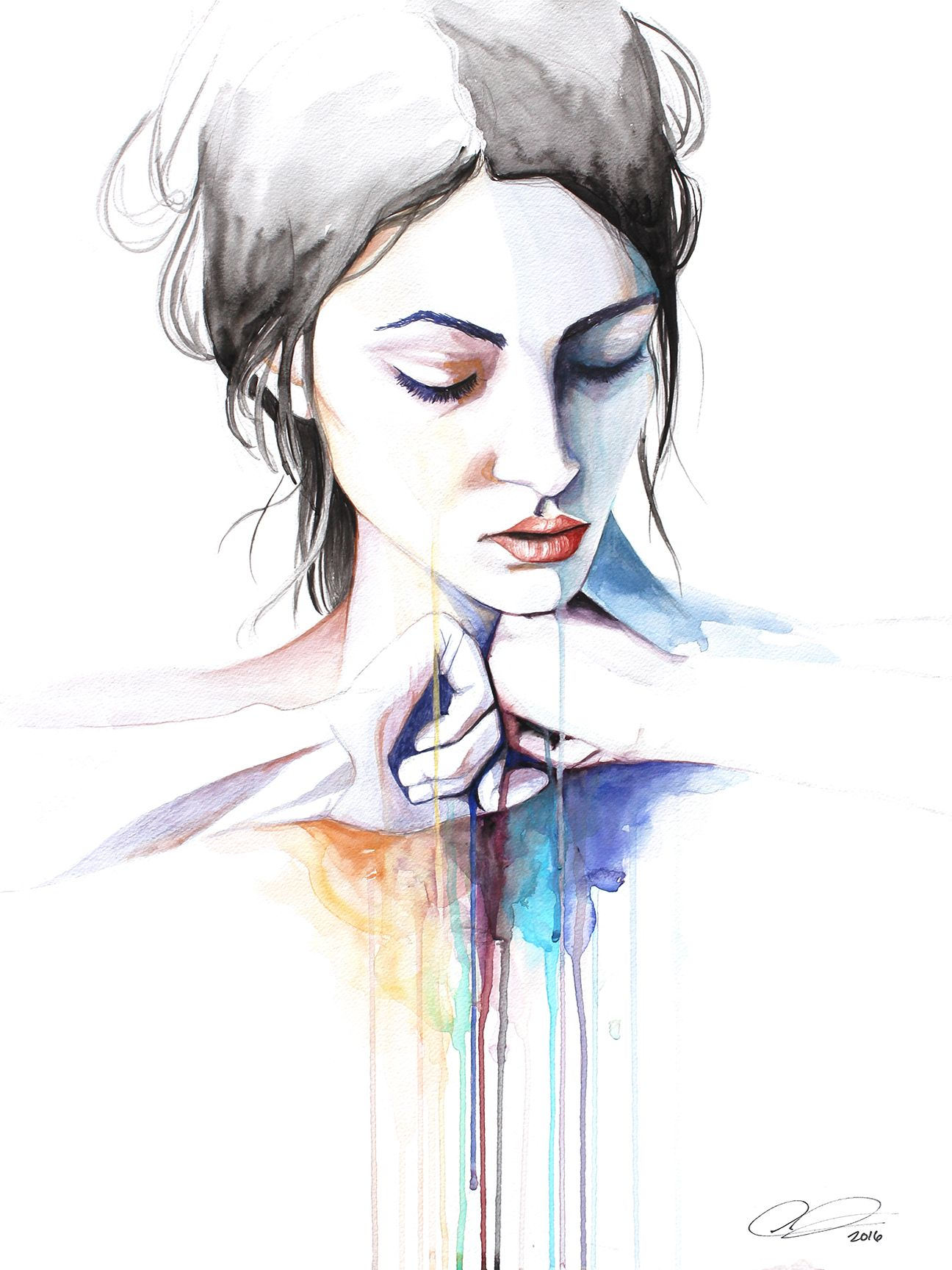 Letting Go Contemporary Watercolor Portrait Painting By