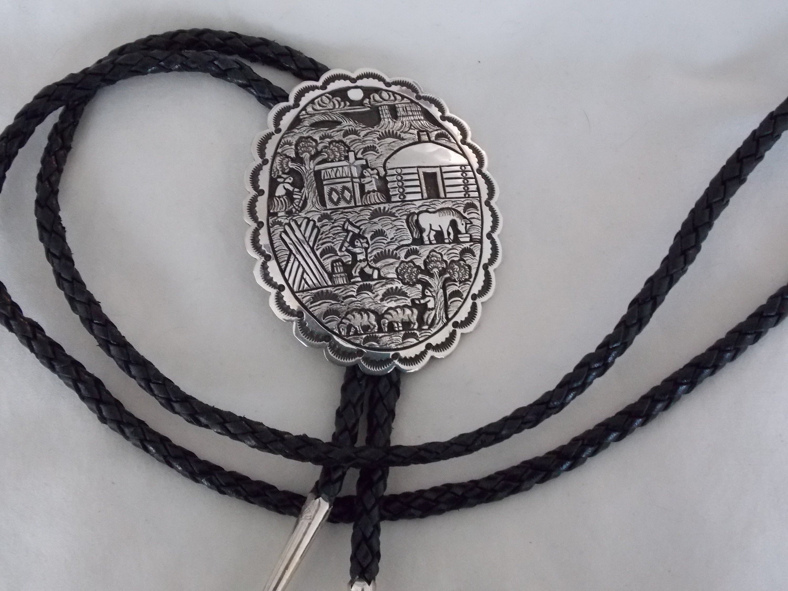 Circa 1970/'s Thunderbird Pewter Bolo With Red Stone