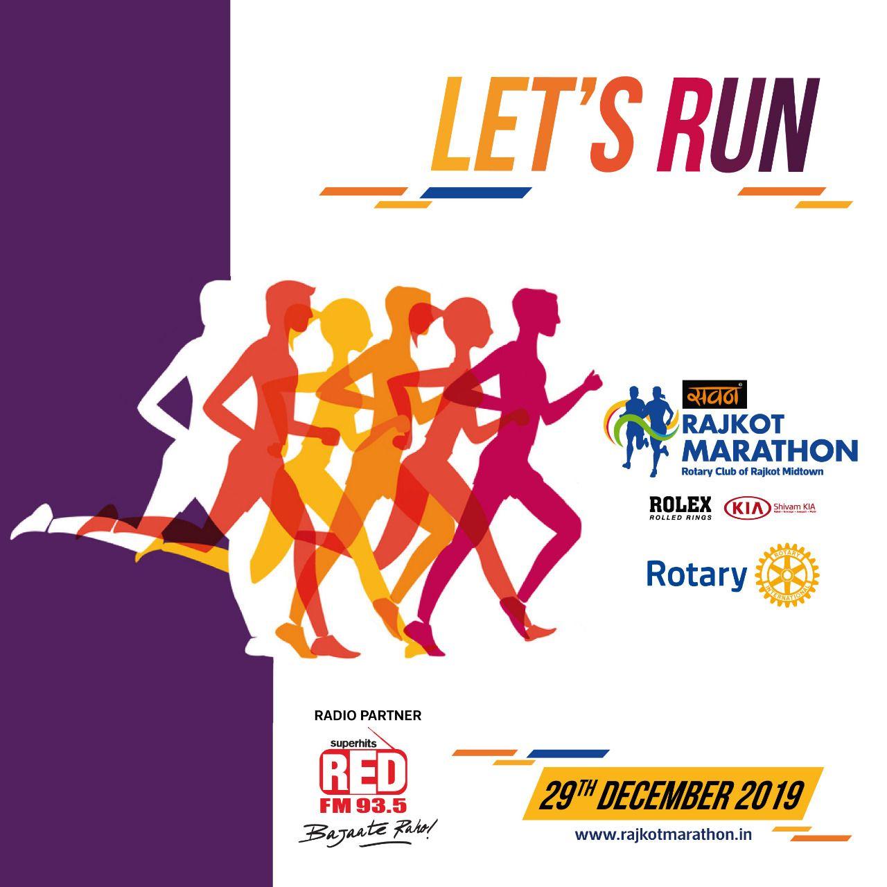 Let's Run Rajkotians for Marathon 2019.  Do Register Online   #RajkotMarathon #RedFMRajkot #RolexRi...