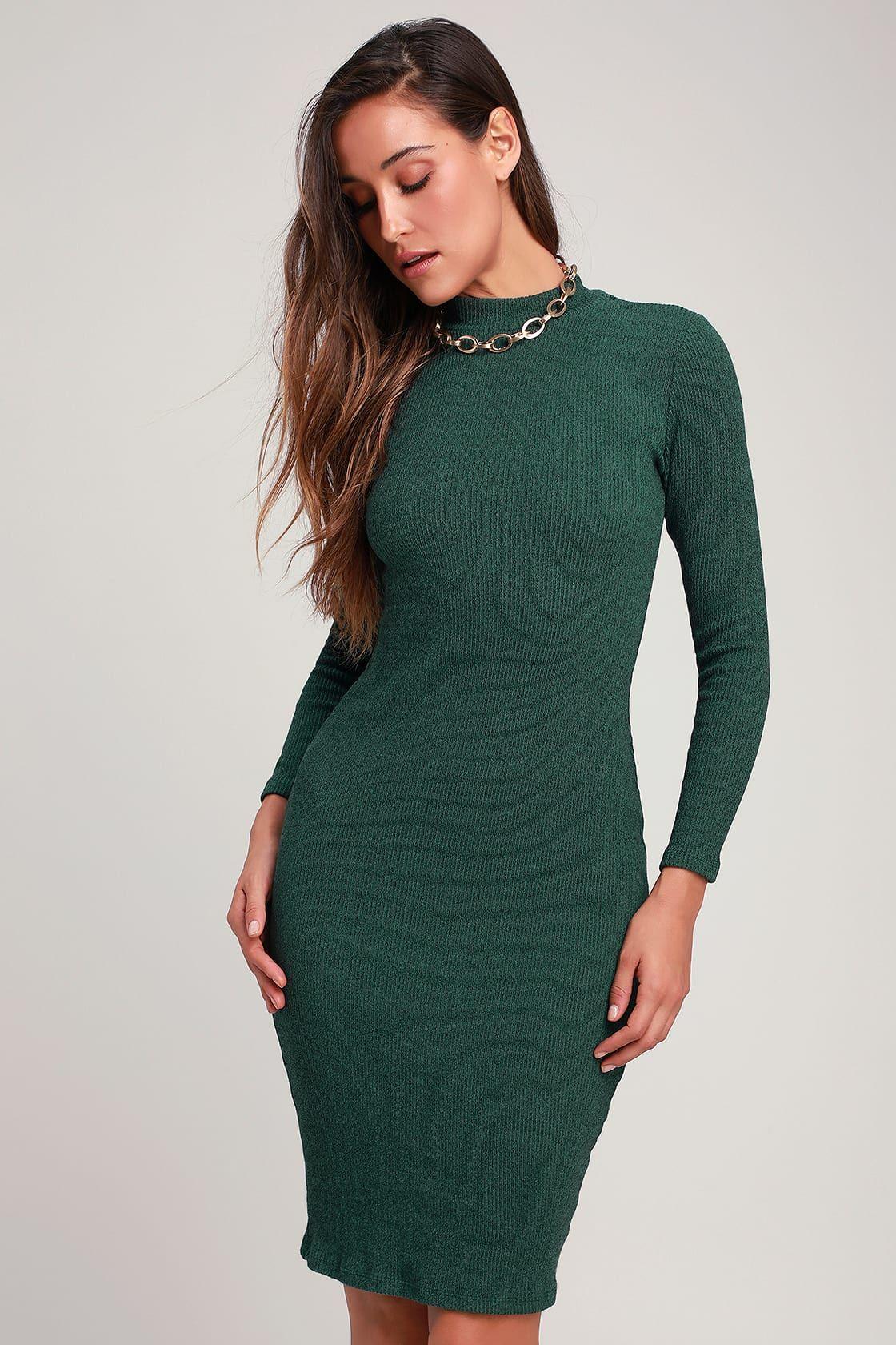I Mist You Heather Dark Green Midi Sweater Dress Ribbed Bodycon Midi Dress Sweater Dress Sweater Dress Midi [ 1680 x 1120 Pixel ]