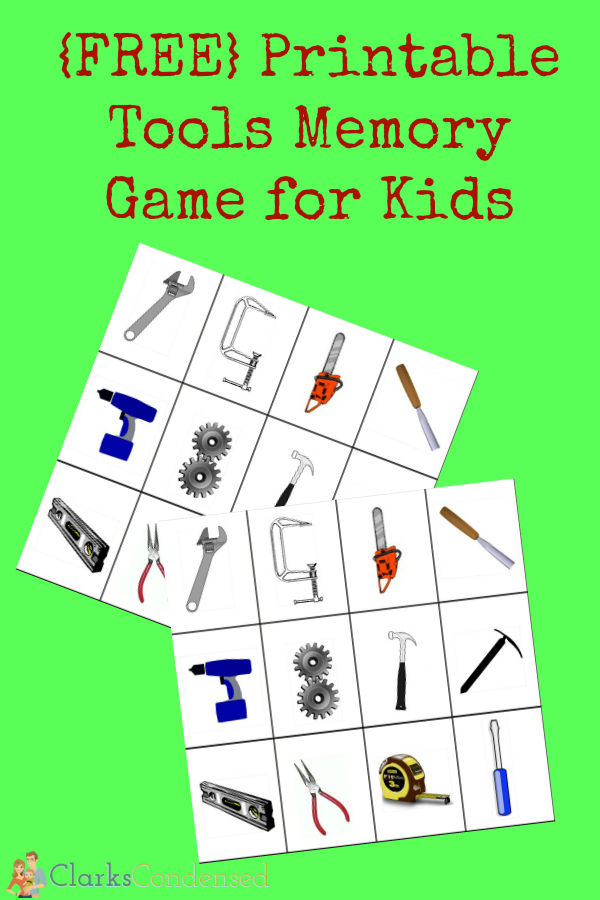 Printable Tools Memory Game for Kids Construction for