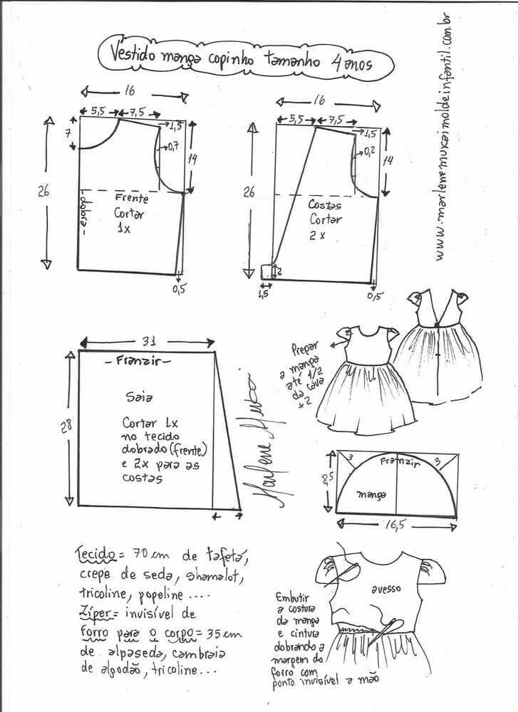 Patrones de vestidos de manga corta