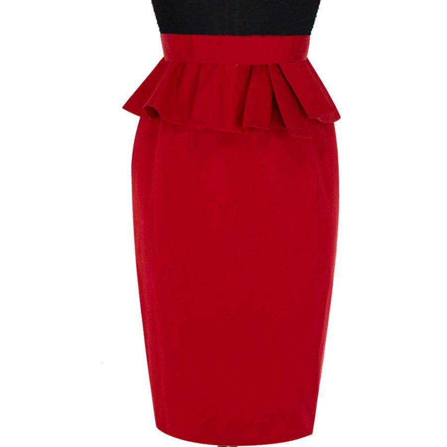 Womens Ladies Ponte Stretch Soft Pencil Peplum Frill Wiggle Midi Bodycon Skirt