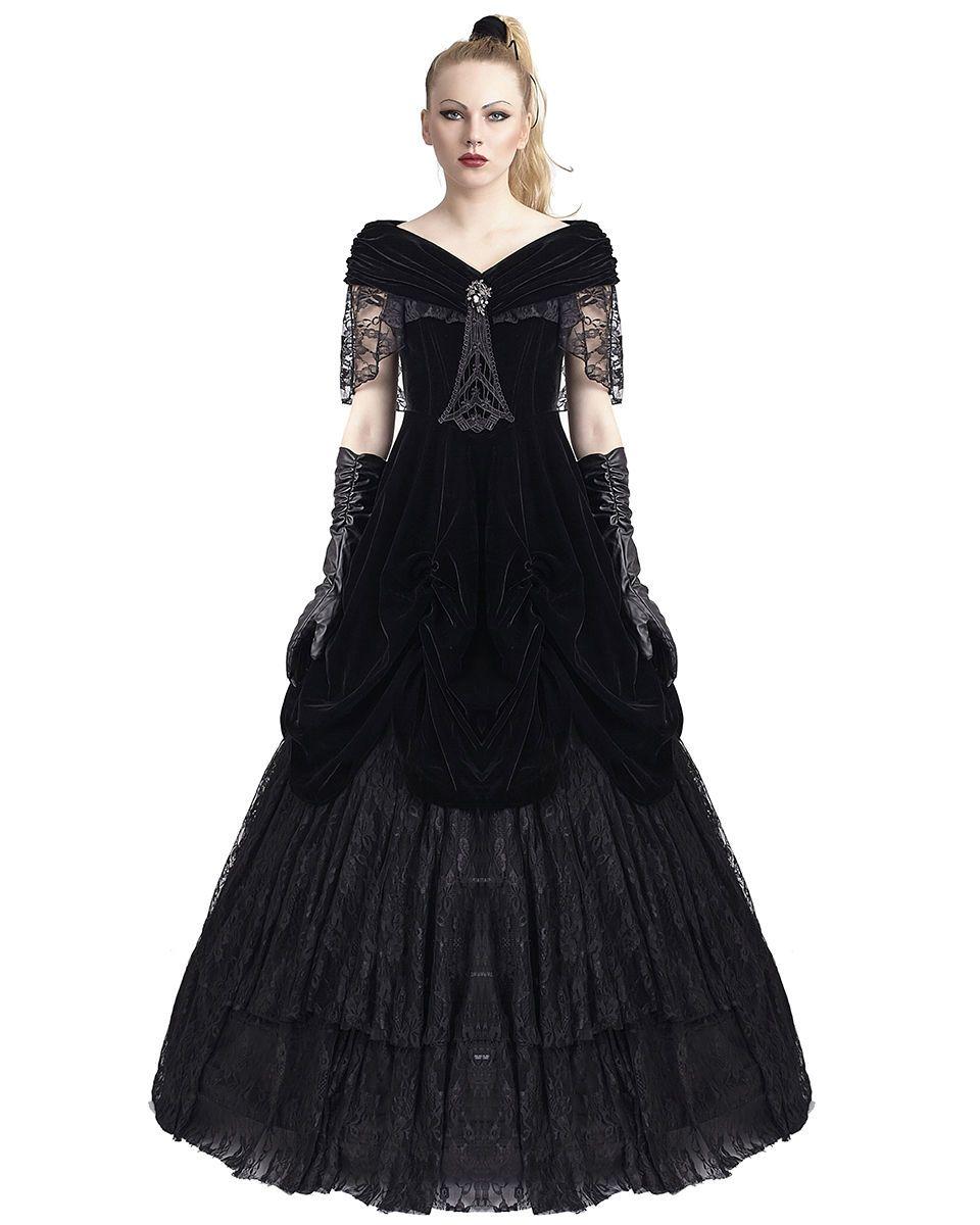 Punk rave gothic prom dress black velvet long steampunk vtg