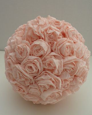 Diy ball of roses made from crepe paper styrofoam ball and glue diy ball of roses made from crepe paper styrofoam ball and glue gun come on ladies you know you love any project with glue guns mightylinksfo