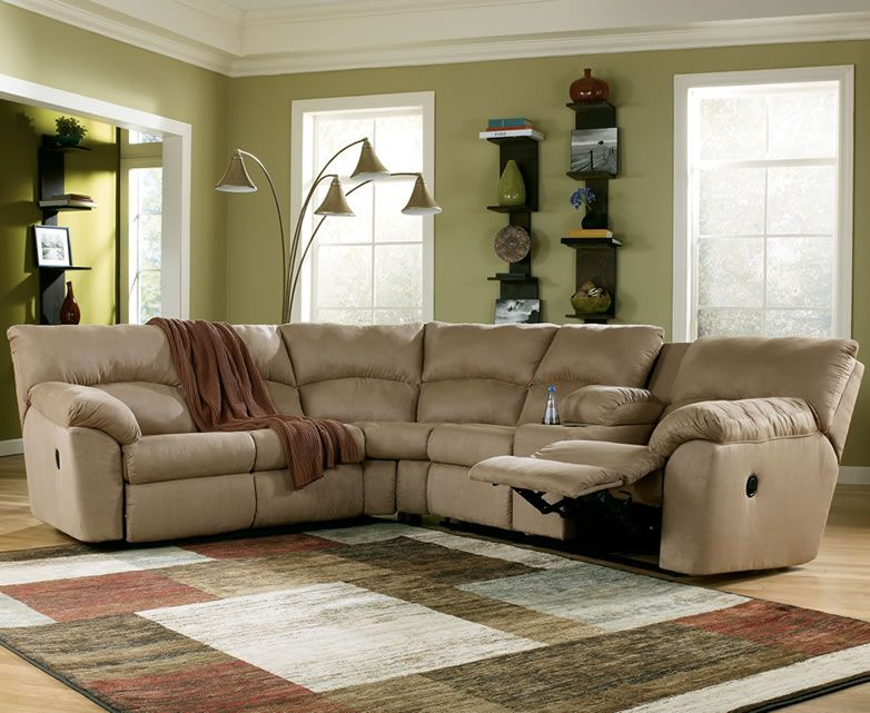 image of microfiber reclining sectional