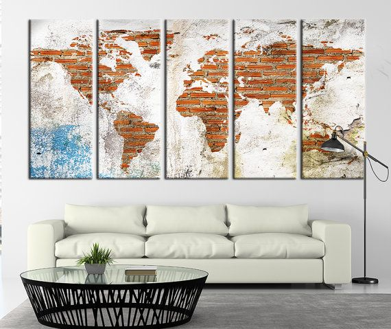 World map on brick wall large art canvas by extralargewallart world map on brick wall large art canvas by extralargewallart gumiabroncs Choice Image