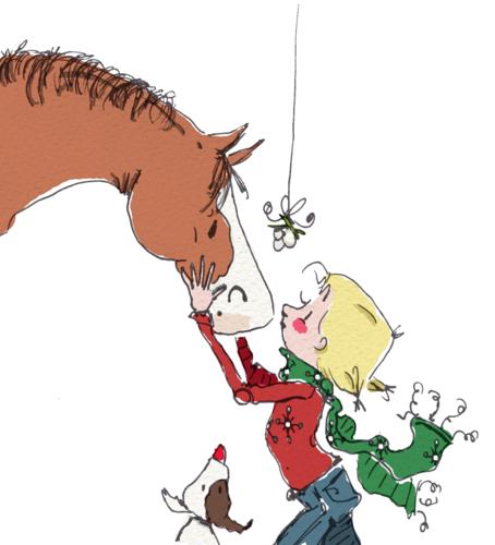 Items Similar To Under The Mistletoe Horse And Girl Christmas Print