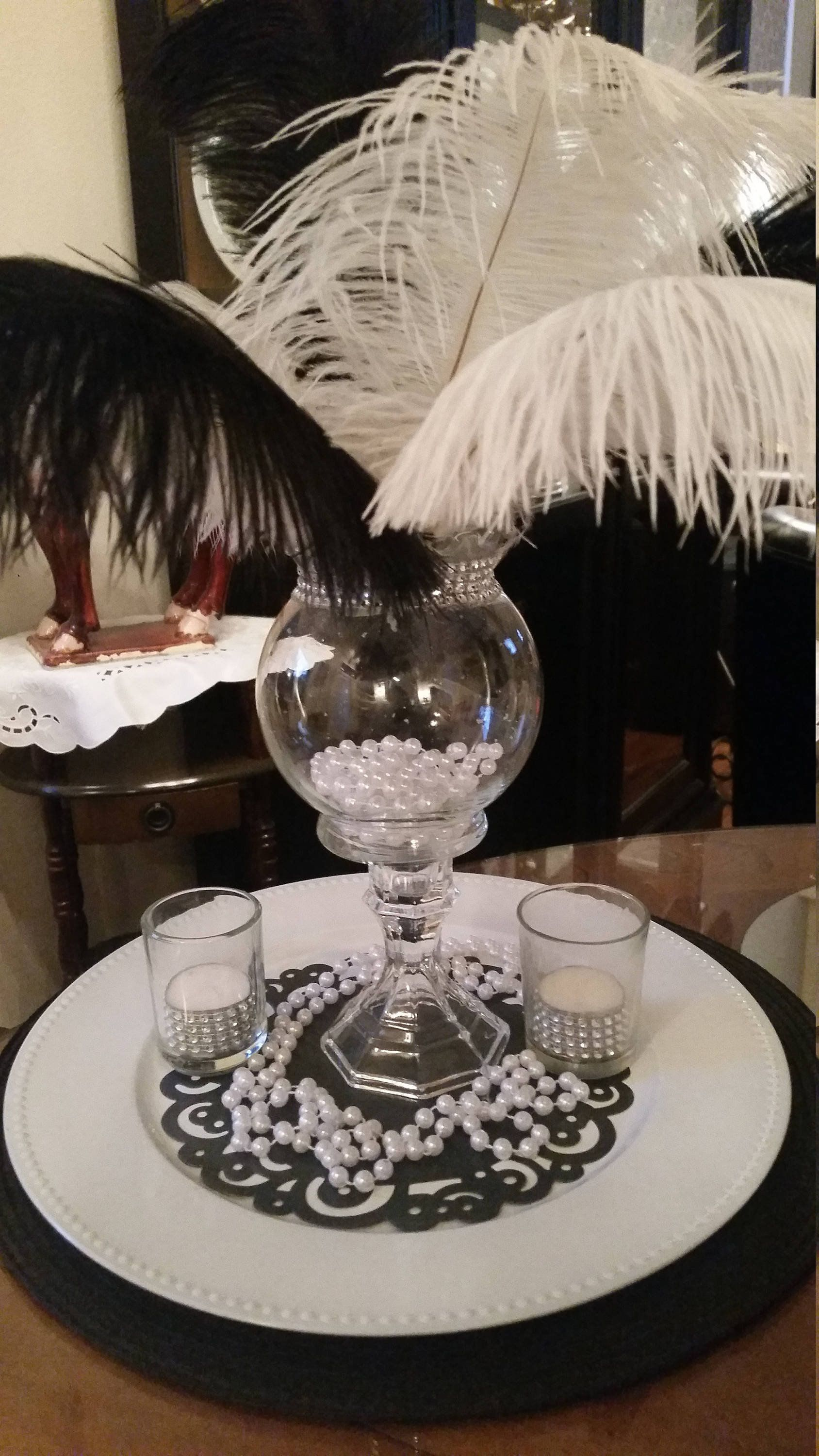 Gatsby Black and White Ostrich Feather Centerpiece-Ostrich Feathers-Sweet 16-Quinceanera-Prom-Wedding-Gatsy-Roaring 20s--Birthday #sweet16centerpieces