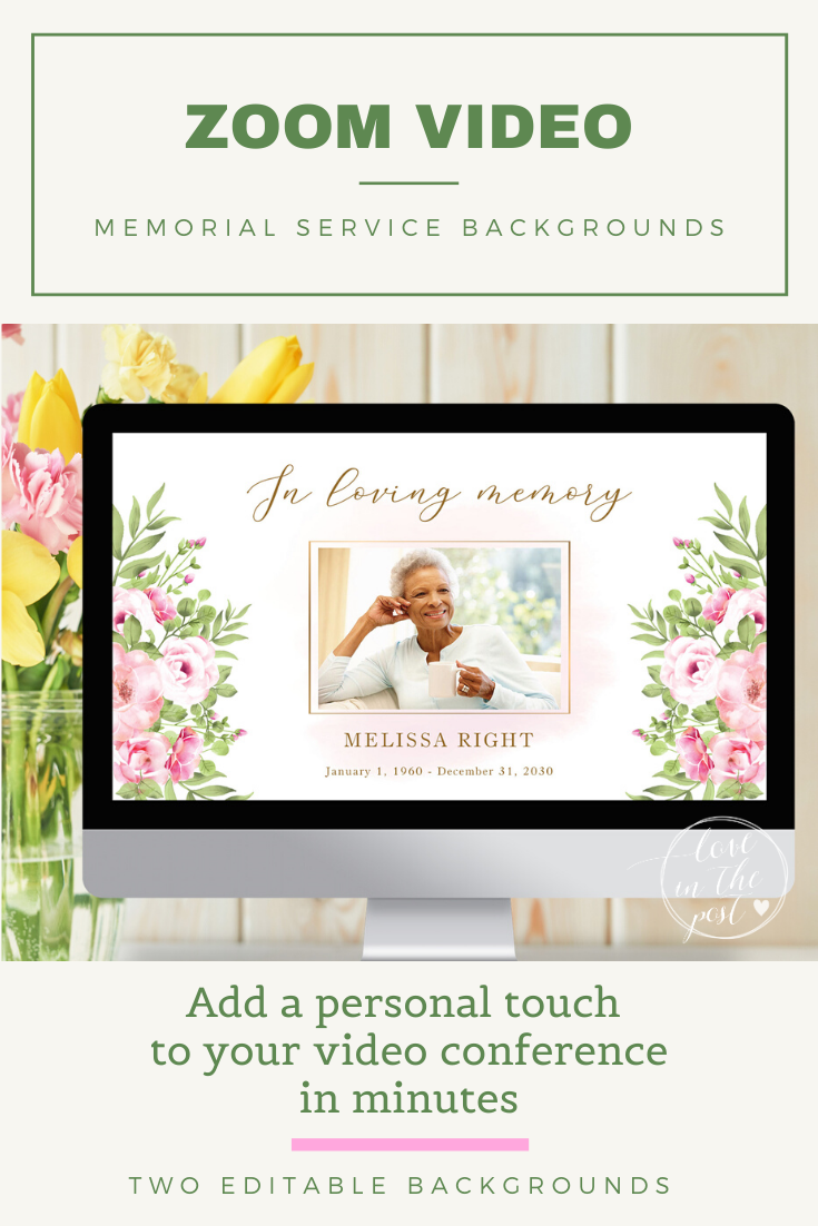 Zoom Funeral Background Template For Virtual Memorial Etsy In 2021 Memorial Service Funeral Gifts Memorial Service Invitation