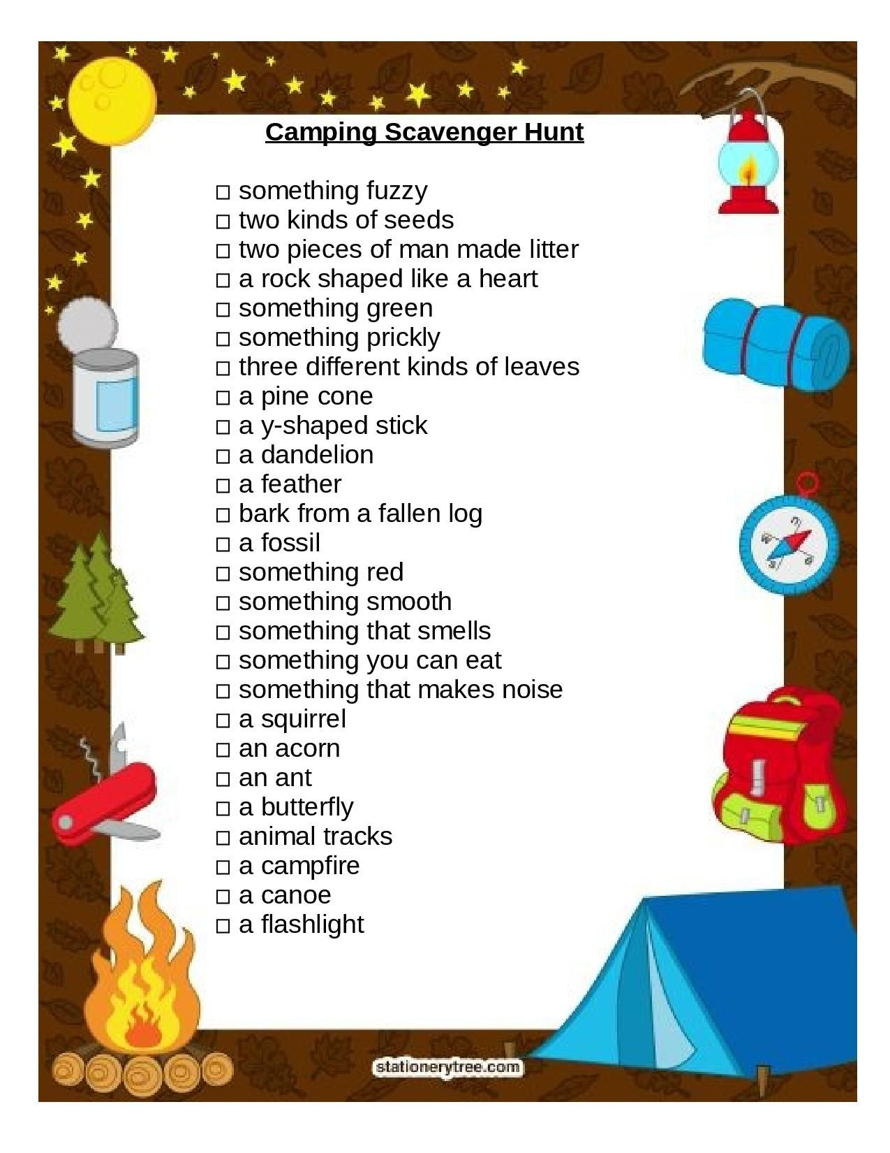 Scavenger Hunt I Made For Group Camping With Images