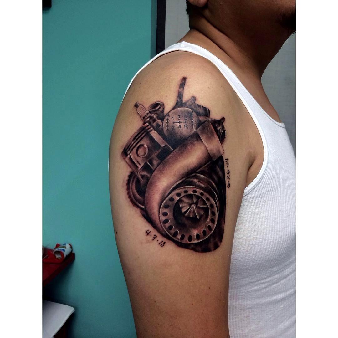 Car Part Tattoos Gallery in 2020 | Kolben tattoo