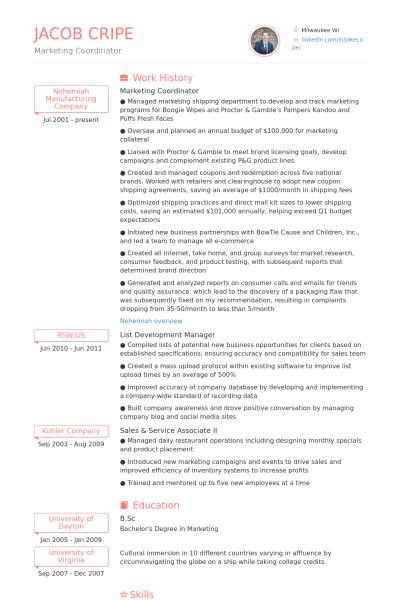 image result for marketing coordinator insurance resume samples