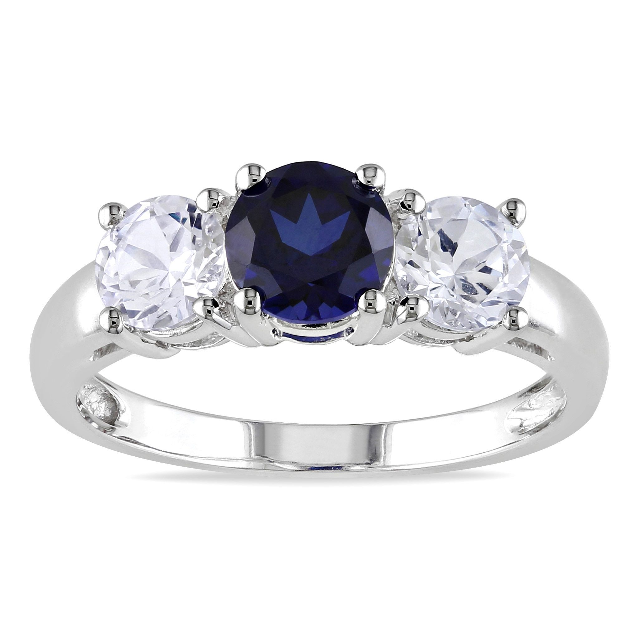 Miadora 10k White Gold Created Blue And White Sapphire 3 Stone Ring Size 5 White Gold Ring Band White Gold Rings Blue Sapphire Rings