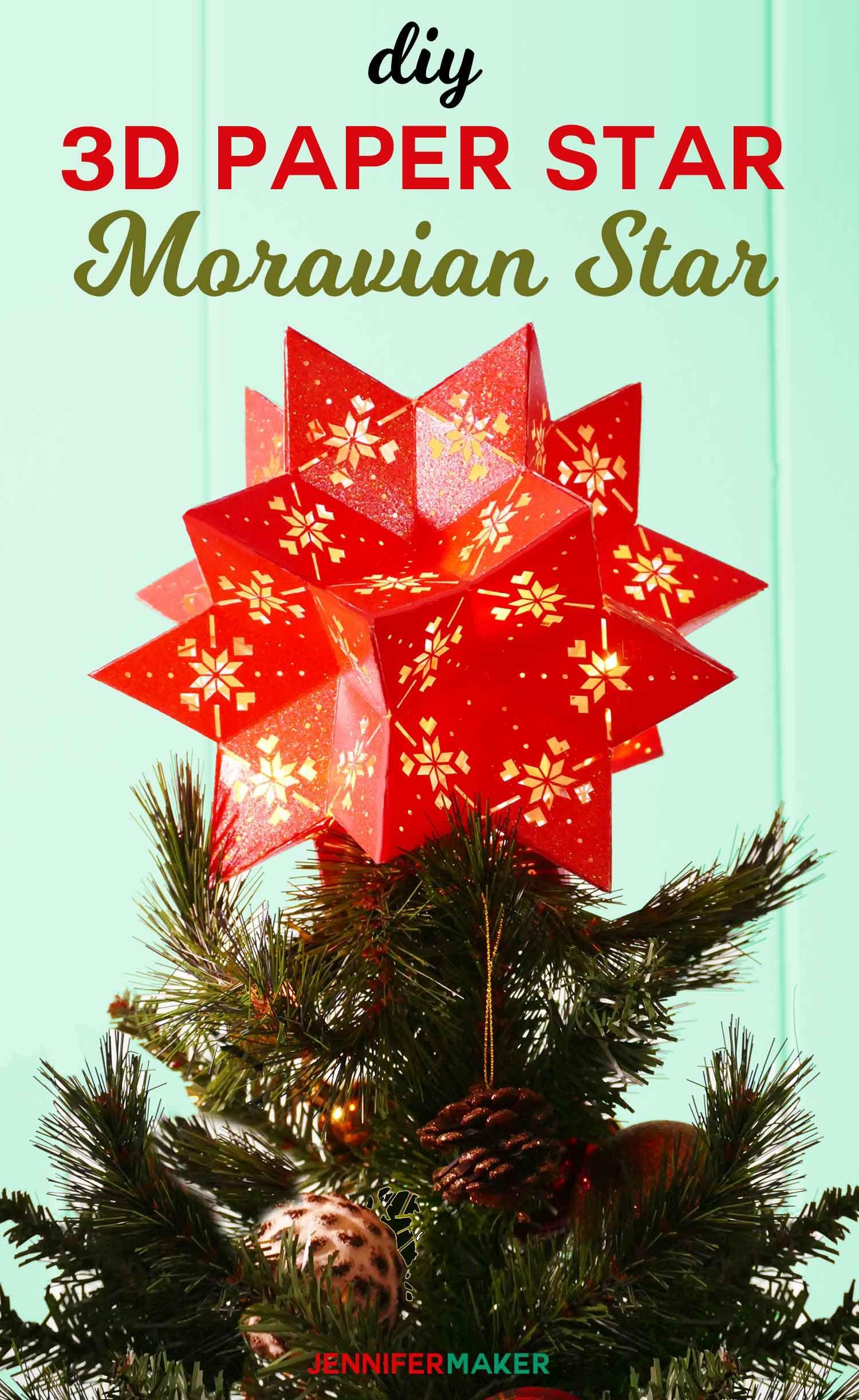 Diy 3d Paper Star Moravian 20 Point Tree Topper Jennifer Maker Diy Tree Topper 3d Paper Star Paper Christmas Tree