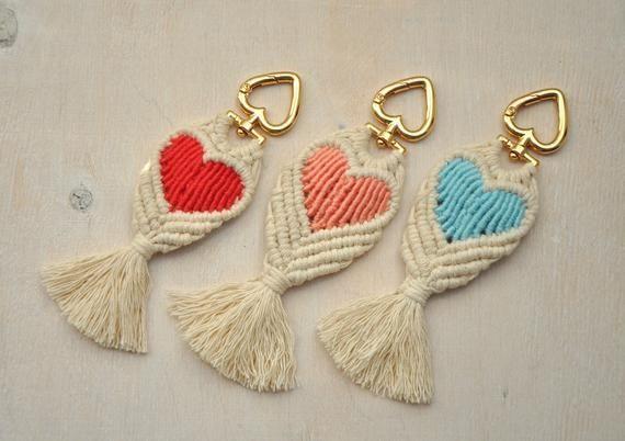 Macrame multicolor cotton keychain, Handwoven boho fringe key fob, Heart-shaped  Bag Charm #crochetcrafts #cotton #boho #keychain #bag #heartshaped #macrame #charm #fringe #handwoven #key #fob #multicolor