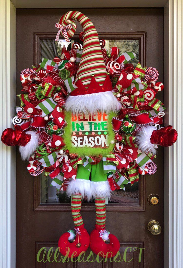 b645d6baec9 Excited to share this item from my  etsy shop  Believe In the Season Elf  Deco Mesh Wreath is perfect for your front door during the Christmas