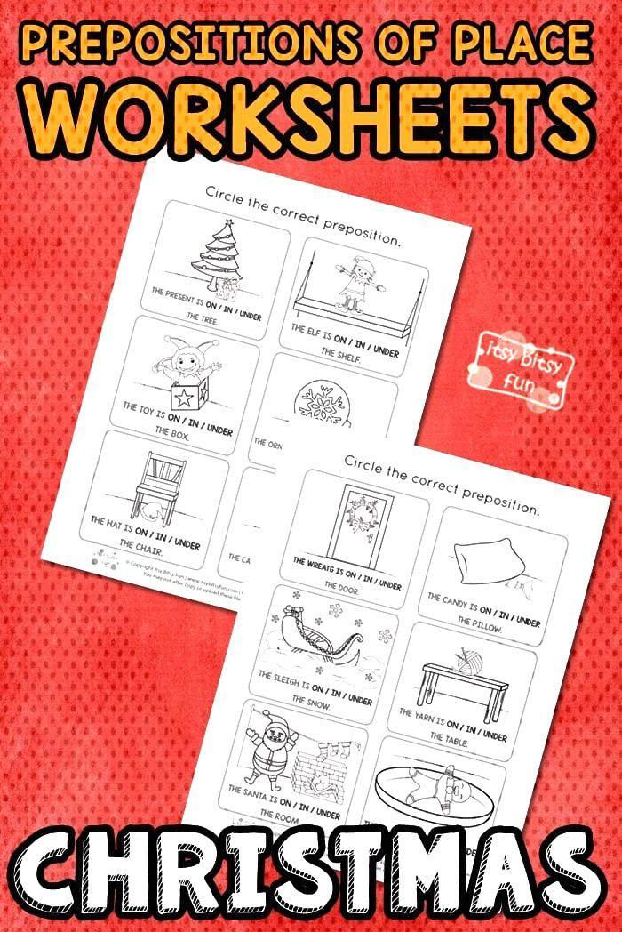 Christmas Prepositions Worksheets - Itsy Bitsy Fun - Amy Bratsos -