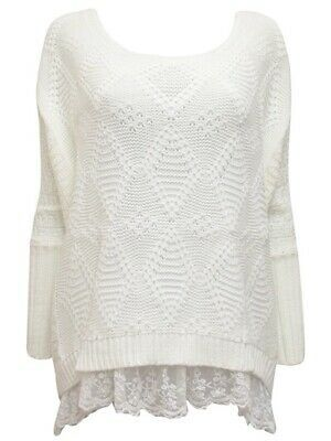 Details about Preppy CREAM Oversized Chunky Knit Dipped Lace Hem Jumper - FreeSize #chunkyknitjumper