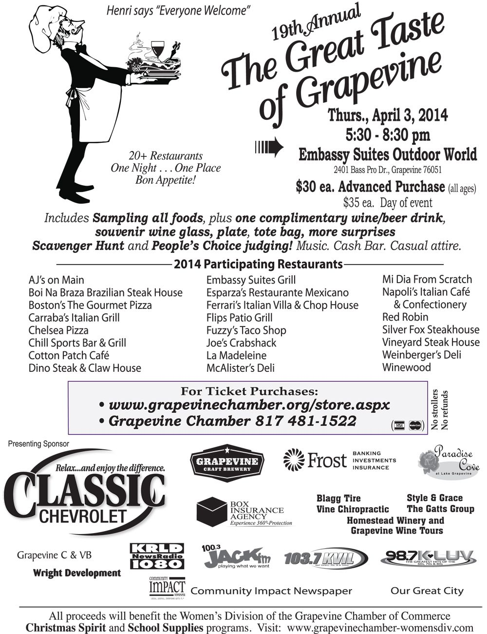 The Great Taste Of Grapevinetx Is Thursday April 3 At The Embassy Suites Outdoor World Proceeds Benefit The Women Grape Vines Chamber Events Grapevine Tx