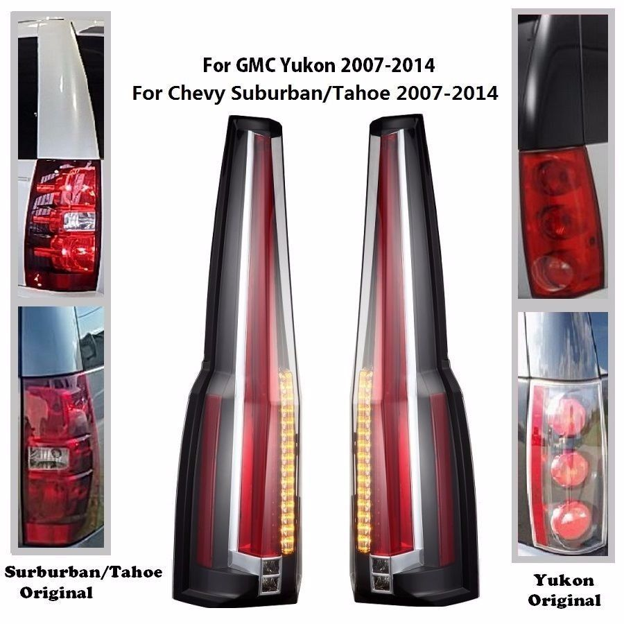Details about led tail lights rear for 2007 2014 chevy chevrolet suburban tahoe gmc yukon
