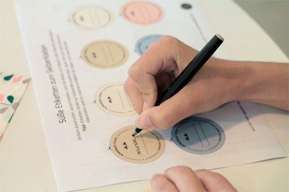 2 schritt beschrifte die etiketten auf den daf r vorgesehenen linien achtung der bogen. Black Bedroom Furniture Sets. Home Design Ideas