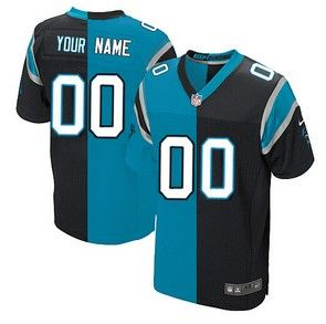 dcc2fbea5e2 Men s Nike Carolina Panthers Custom Made Elite Two Tone Team Alternate  Black and Blue Jersey