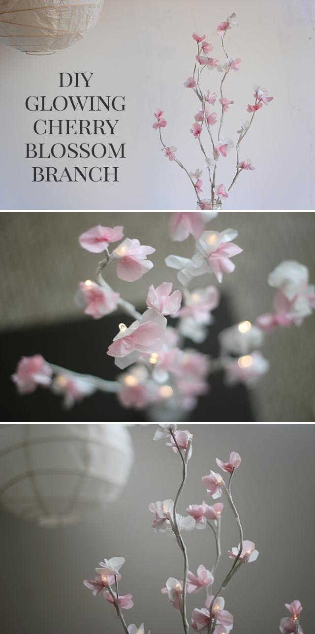 Diy Glowing Cherry Blossom Branch Tutorial For Wedding Home Or Nursery Decor Shrimp Salad C Cherry Blossom Theme Cherry Blossom Party Paper Flowers Wedding
