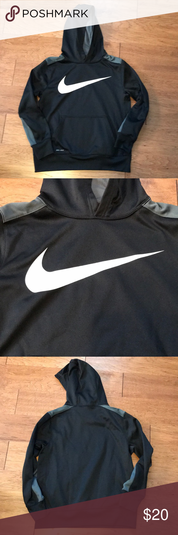 b7c7351b Nike Dri-Fit Hoodie Boys Nike Dri Fit hoodie Size large Kangaroo pocket  Black,grey and white Hoodie is in excellent pre owned condition Nike Shirts  & Tops ...