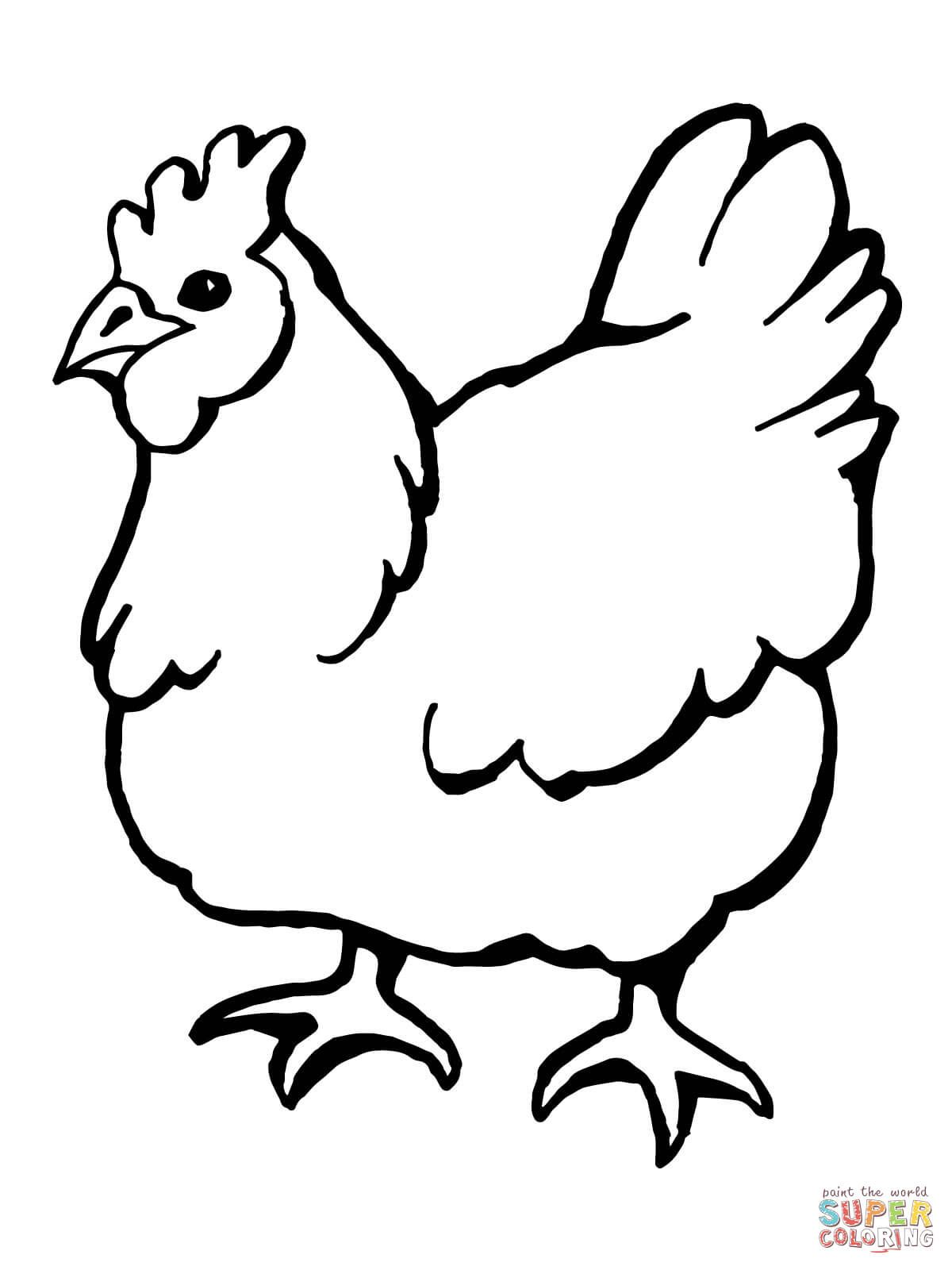 Domestic Hen Bird Coloring Page Free Printable Coloring Pages