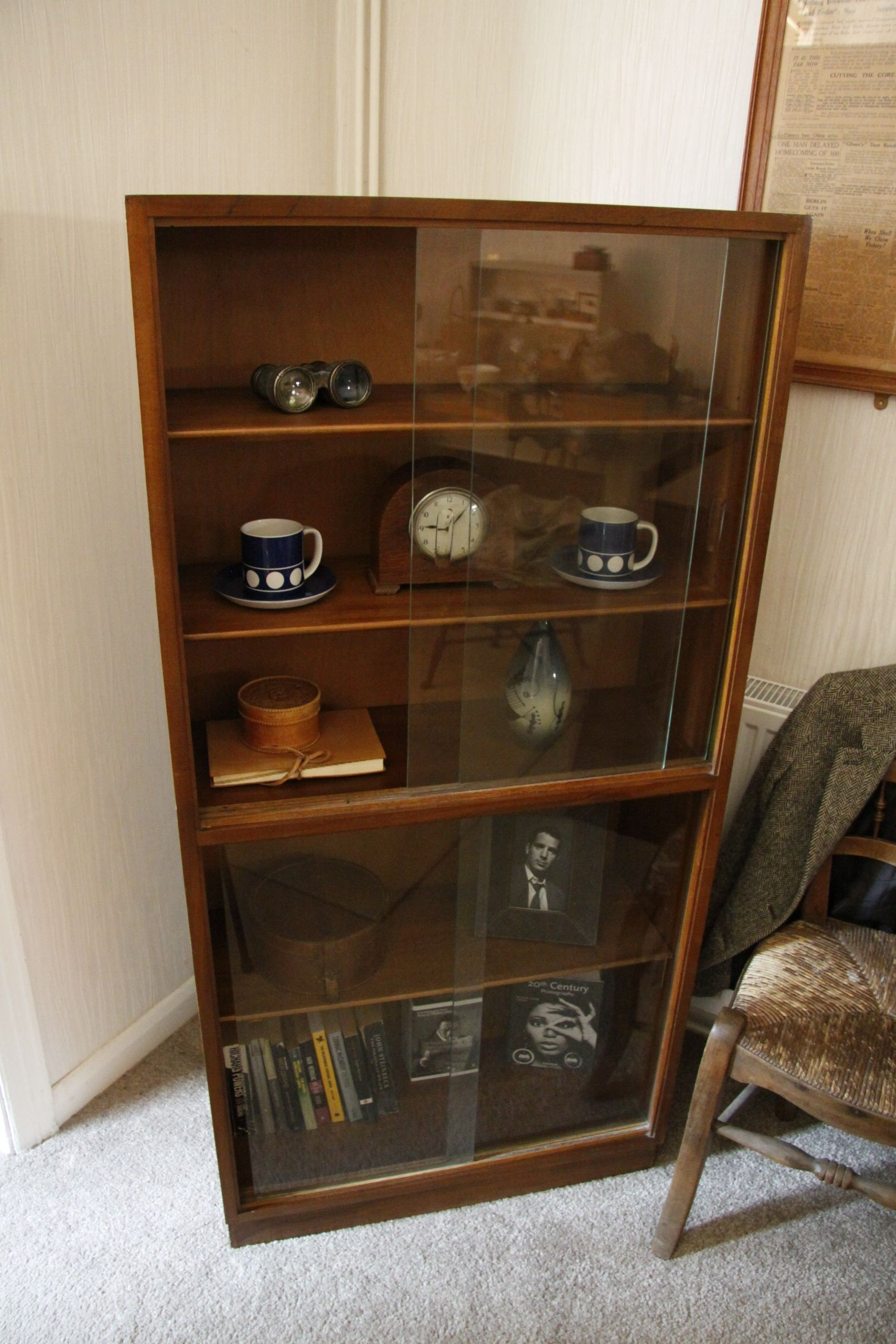 1950u0027s mid century modern teak bookcase with sliding glass doors9500 available to purchase
