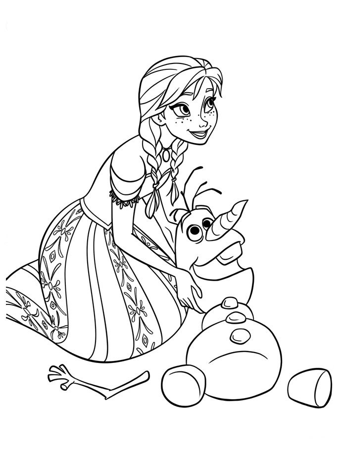 Frozen Kleurplaten Anna Olaf Color Pages Disney Drawings
