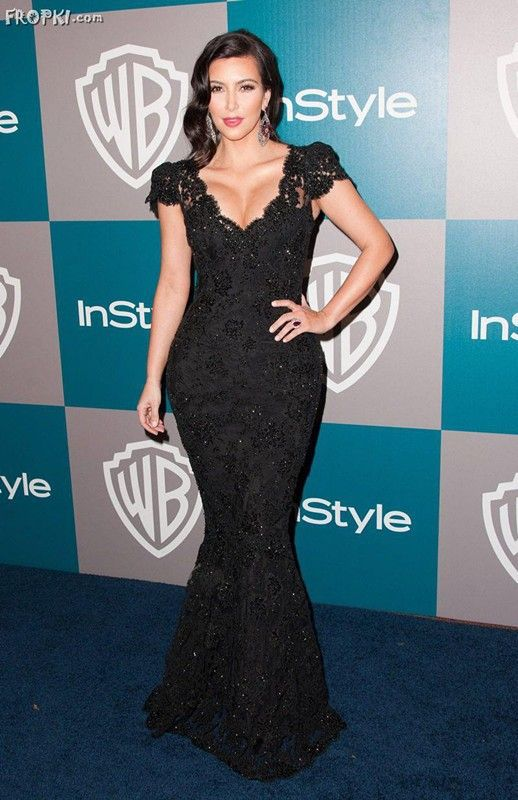 Kim Kardashian Dress Golden Y Cap Sleeve Globe Awards Night V Neck Black Lace Mermaid Floor