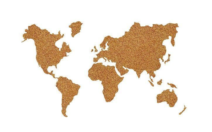 World map wall art cork pin board die cut decal push pins modern explore world maps world map wall art and more gumiabroncs Gallery