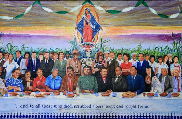 Zapata murals the last supper of chicano heroes and for Chicano mural movement