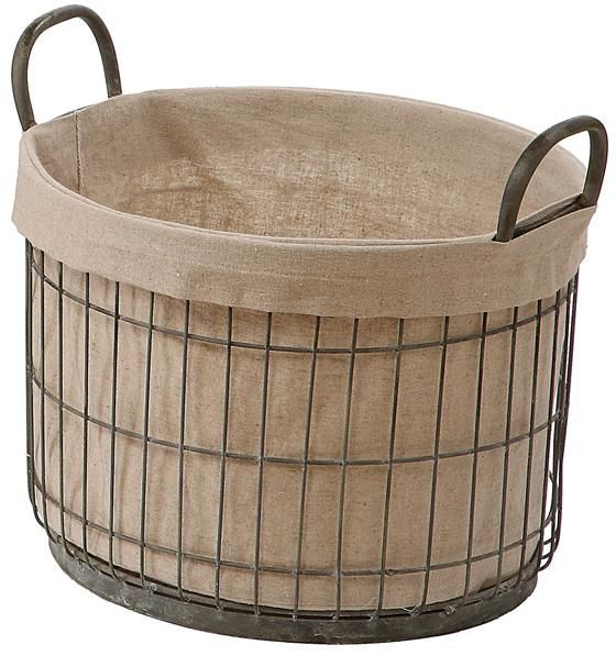 **Tin Basket With Fabric Liner