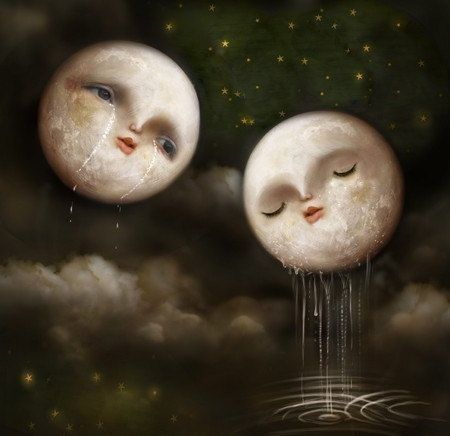 You, at Last - Moons encounter - Meluseena Art Print